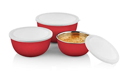 POG Microwave Safe Stainless Steel Bowl Set, 3 Pieces, Red
