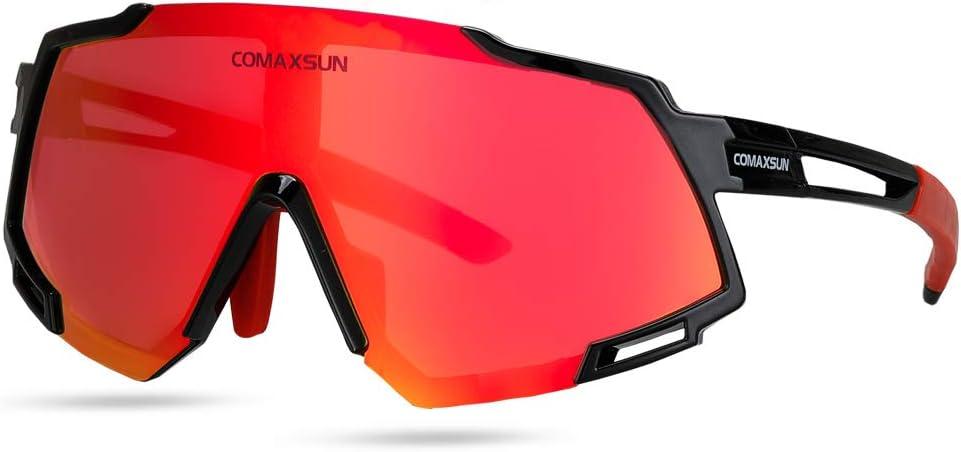 COMAXSUN Polarized Sports Sunglasses with 5 Interchangeable Lenses,Mens Womens Cycling Glasses,Baseball Running Fishing Golf Driving Sunglasses