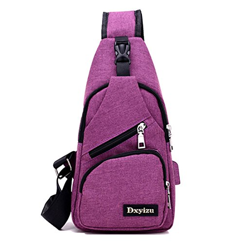 Rucksack Charging Fashion Chest Cycling Multipurpose Crossbody Sling Walking Travelling with for USB Backpacks Pack Shoulder Lightweight Bags Triangle Purple or Daypacks Port YaYrwO8qx