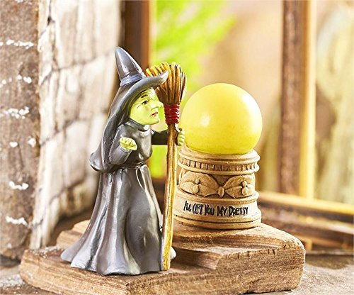 My Fairy Gardens Miniature - WIZARD of OZ Wicked Witch & LED Crystal Ball - Mini Dollhouse Supply Expressions (Wizard Crystal Ball)