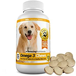 Get the Only Complete Omega 3-6-9 Fish Oil Chewable Tablet That DOGS LOVE TO EAT!   Omega 3 Chews for Dogs by Amazing Nutritionals is the only great-tasting dog supplement that treats coat and skin conditions, itchy skin, flaking, and hot spo...