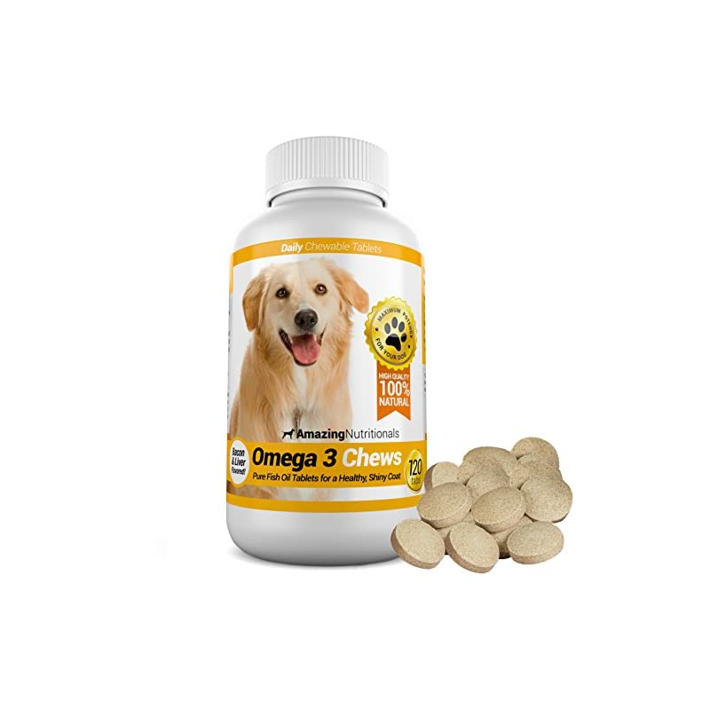 dog supplies online amazing nutritionals omega-3 fish oil chew-able tablet for dogs, 120 tabs