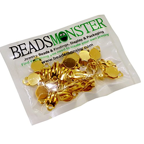 BeadsMonster Flat Round Tray Iron Clip-on Earring Findings for Jewelry Making, 10mm Paddle Back - Round Earrings Clip Button
