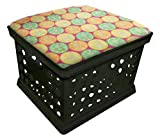 Black Utility Crate Storage Container Ottoman Bench Stool for Office/Home/School/Preschools with Your Choice of Seat Cushion Theme! (Citrus)