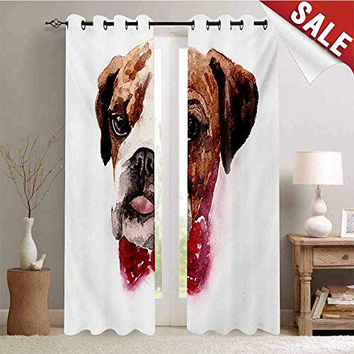 Hengshu English Bulldog Window Curtain Fabric Watercolor Dog Portrait with a Bow Tie Design Brush Stroke Effect Drapes for Living Room W72 x L108 Inch Brown Ruby ()