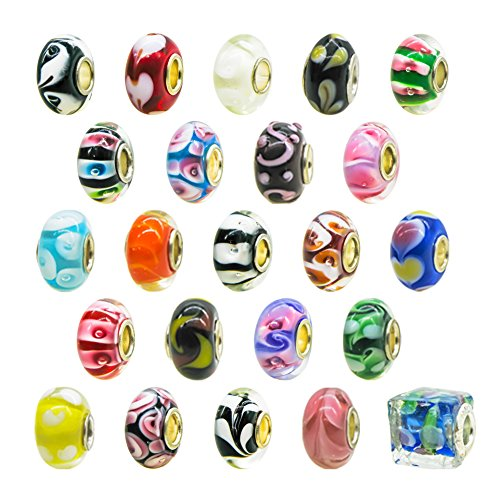 Lampwork Glass Beads Mixed (TOAOB Multi Assorted Mixed Color Large Hole Lampwork 14mm Murano Glass Beads Fit European Bead Charm Bracelet Pack of 10pcs)