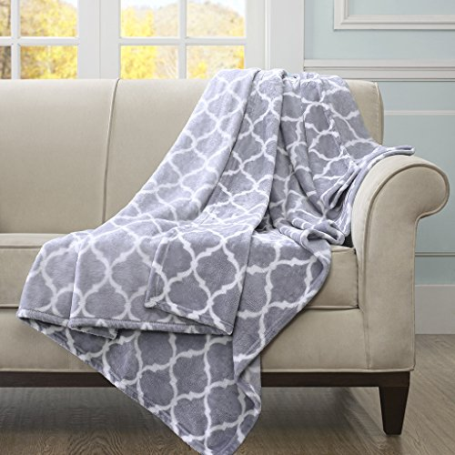 Madison Park Ogee Luxury Oversized Throw Grey 6070    Premium Soft Cozy Microlight For Bed, Coach or Sofa