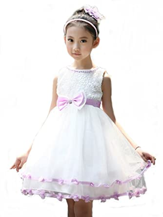 R.I S Girls Kids White and Purple Flower Formal Wedding Bridesmaid Party Christening Occasion Prom Dress