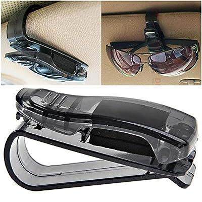ESUPPORT 2Pcs Sunglass Visor Clip Sunglasses Eyeglass Holder Car Auto Reading Glasses Black: Automotive