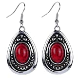 Product review for YAZILIND Vintage Tibetan Silver Red Oval Turquoise Dangle Drop Hook Earrings Women Gift