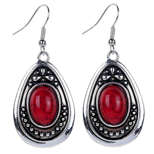 YAZILIND Vintage Tibetan Silver Red Oval Turquoise Dangle Drop Hook Earrings Women Gift
