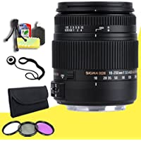 Sigma 18-250mm F3.5-6.3 DC MACRO HSM for Sony Digital SLR Cameras + 62mm 3 Piece Filter Kit + Lens Cap Keeper + Deluxe Starter Kit DavisMAX Bundle