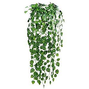 83 Feet 12 Strands Artificial Flowers Greenery Fake Hanging Vine Plants Leaf Garland Hanging for Wedding Party Garden Outdoor Office Wall Decoration (Watermelon Leaves) 98