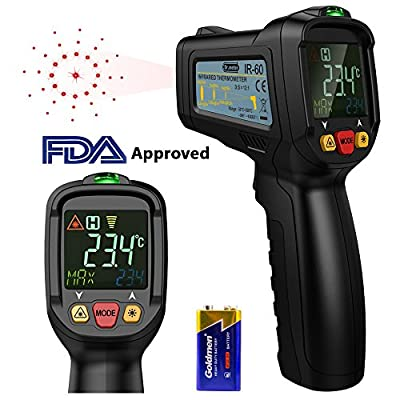 Dr.meter Non-Contact Digital Laser IR Infrared Thermometer Temperature Gun -58? - 1022? for Kitchen Cooking BBQ Automotive Industrial,Accuracy Reading HD Backlit LCD Display,FDA Approved
