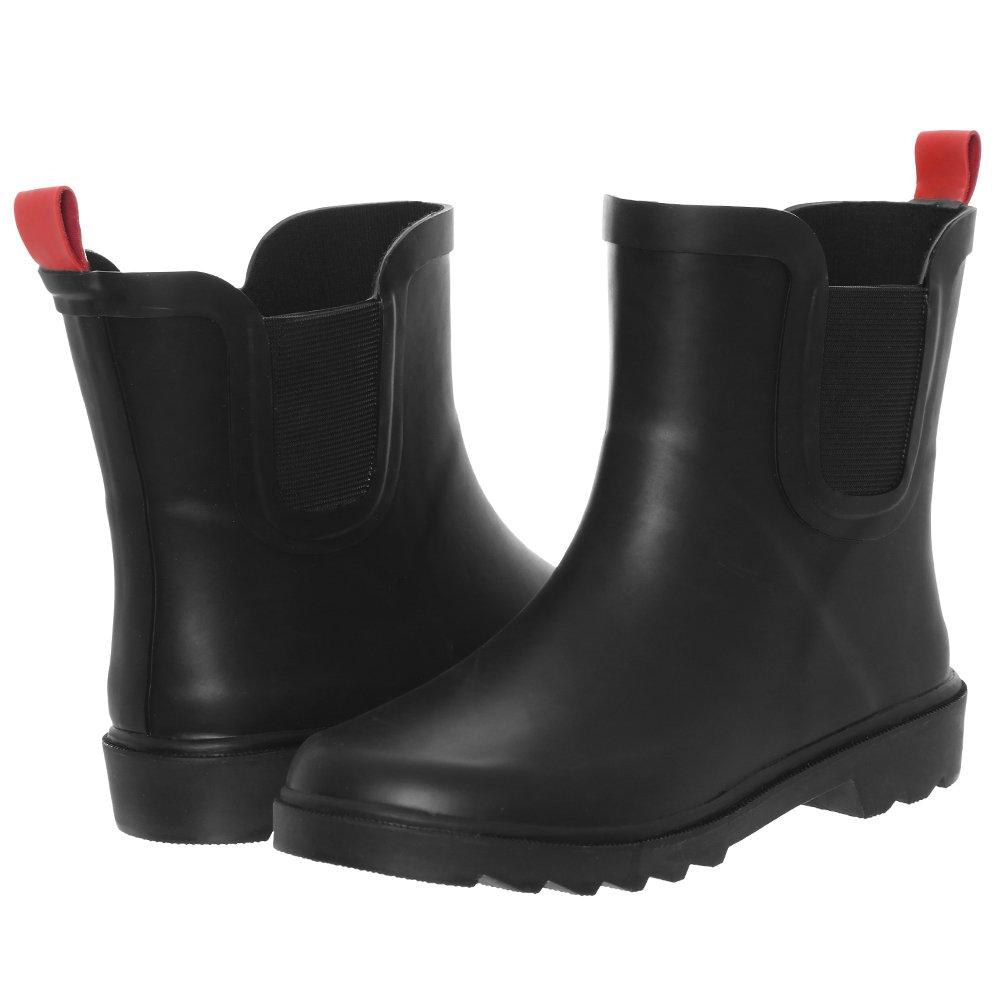 Capelli New York Boys Matte Solid Rubber Rain Boot Black 10/11