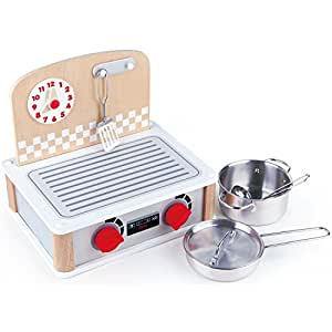 Amazon.com: Hape 2 in1 cocina y juego de parrilla Play ...
