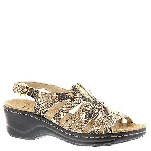 Synthetic Snake - CLARKS Women's Lexi Marigold Q Beige Synthetic Snake Sandal 6 W US