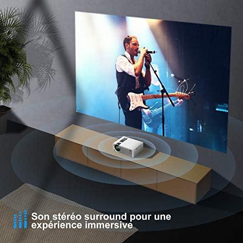 YABER - Proyector portátil con WiFi, 5800 lúmenes, soporte de 1080P, sonido de alta fidelidad, función de Zoom, retroproyector compatible con iPhone, Android, TV Stick, proyector LED para cine en casa: Amazon.es: