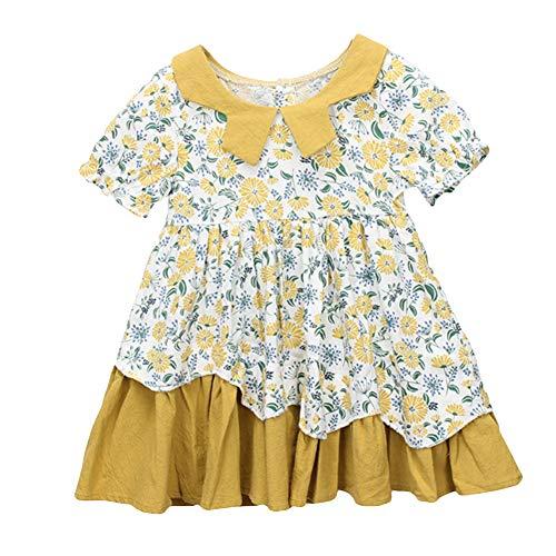 Pocket Baby Doll Dress - 856store Comfortable Kids Baby Girl Summer Flower Print Doll Collar Round Neck Short Sleeve Dress Yellow 130cm