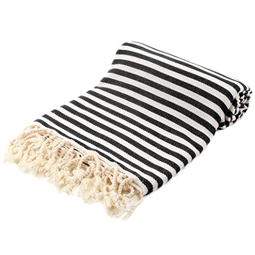 Striped Turkish Peshtemal Towel - Striped Beach Towel 39 x 71 inches - Turkish Towel - 100% Turkish Cotton (Black) by Fringe Towels