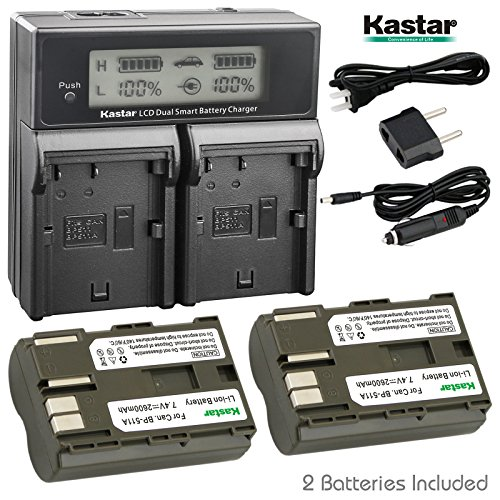 Kastar LCD Dual Fast Charger + 2 x Battery for Canon BP-511, BP-511A, BP511, BP511A & EOS 5D, 10D, 20D, 30D, 40D, 50D, Digital Rebel 1D, D60, 300D, D30, Kiss ()