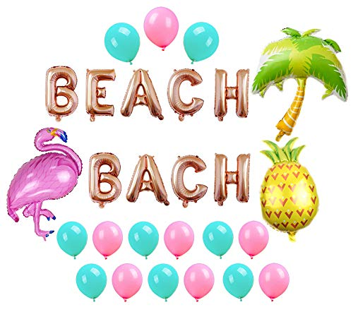 Beach Bach Balloons Banner Hawaii Luau Flamingo Pineapple Palm Tree Tropical Summer Party Decorations Beach Bachelorette Party -