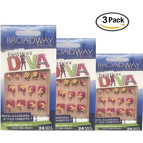 Broadway Nails Fashion Diva Nail Kit Medium Length 24 Nails Each (Pack of 3)