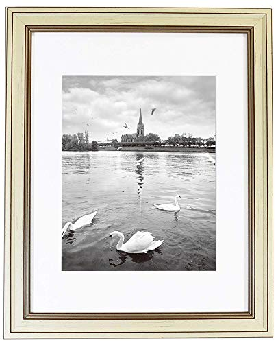 - Golden State Art, 11x14 Photo Frame, Cream Color with Brown Lines, with White Mat for 8x10 Pictures, Real Glass