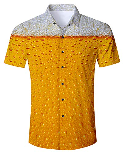 Men's Hawaiian Shirt Beer Print Tropical Beach Aloha Shirt Casual Button Down Short Sleeve Dress Shirt