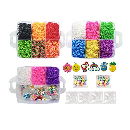 NEFUTRY Loom Kit-4500 Rubber Loom Bands Bracelet Making Kit, 15 Colors, 4 Packs S-Clips, 50 Colorful beads, 6 Silicon Charms