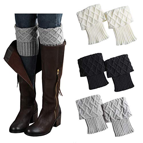 Jiuhong 3 Pairs Women Winter Warm Crochet Knitted Boot Cuff Sock Short Leg Warmer (Style 4)