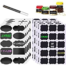 COMPLETE KIT 140 LARGE & SMALL Mason Jar Labels Chalkboard with BONUS White Liquid Chalk Dry Erase Marker – SMART FISH 140 Assorted Re-writable Blackboard Sticker Label for your home, office and kitchen use.