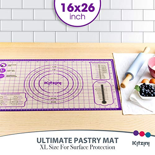 Pastry Mat Silicone Non Slip – Large Thick Non Stick Silicone Baking Fondant Mat - Rolling Dough, Pie Crust, Pizza and Cookies – Easy Clean Kneading Mat With Measurements – 16 x 26 Inch