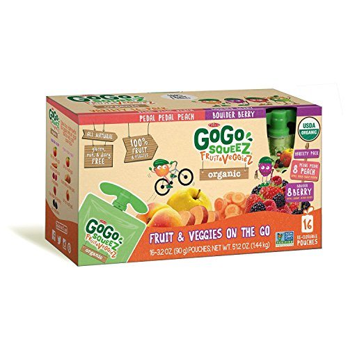 GoGo Squeez Organic Fruit & Veggiez On the Go Pouch, 3.2 ounce (Pack of 16)