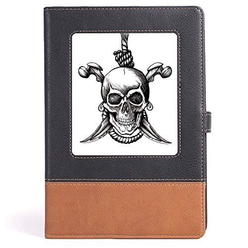 Thick Notebook/Journal - Pirate - Notebook - Jolly Roger Skull with Two Knifes Bones and Hanging Rope Gothic Criminal Halloween Decorative - 100 Ruled Sheets - A5/6.04x8.58 in