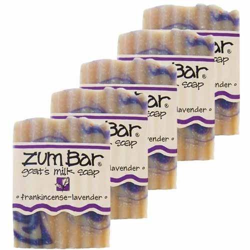 Indigo Wild Zum Bar Goat's Milk Soap, Frankincense Lavender 3 Ounces, 5 Pack