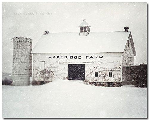Farmhouse Decor, Winter White Landscape Photograph, Snow Photography, White Barn Picture, Rustic Wall Art.