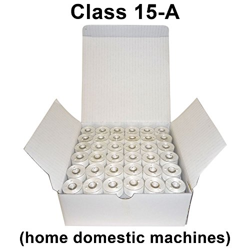 SuperB Pre-wound Bobbins White Polyester 60wt Class 15 - Size A, for Home Machines, Box of 144 (Polyester Prewound Bobbins)