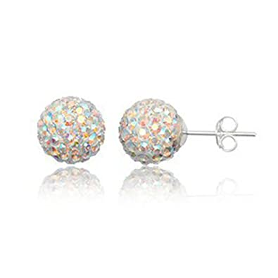 c07691a85 8MM WOMENS Sparkly Disco Ball Sterling Silver Stud Earrings - AURORA AB or  Choose From 23 Colours: Amazon.co.uk: Jewellery