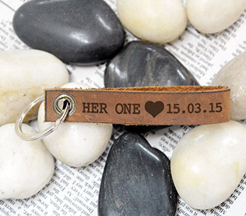 Personalized Leather Keychain with Date Her One Heart Accent for Annivesary Gifts Valentines Day Gifts