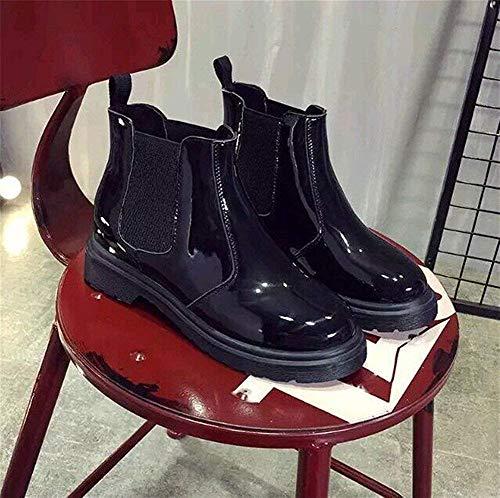 Pu Donna nero Corti Stivali Da Eu 39 Eu Deed Signore 35 Casual Basso Scarpe Tacco Barile Tondo Piatto Moto q7gatwa