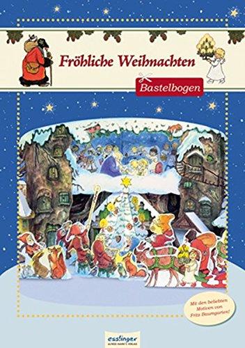 Fröhliche Weihnachten, Weihnachtsbastelbogen mit Motiven von Fritz Baumgarten