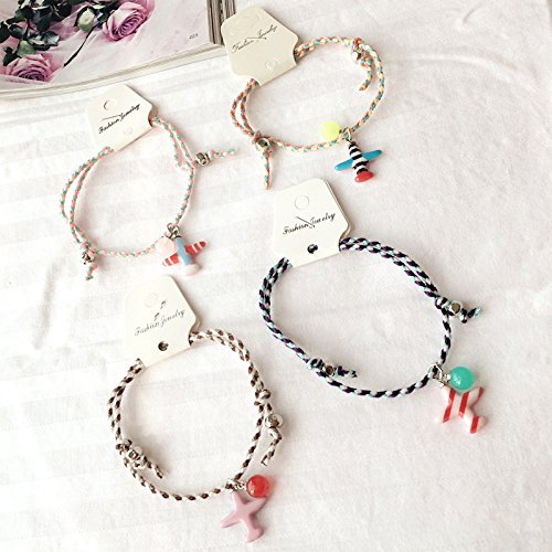 - usongs cute candy-colored acrylic necklace pendant aircraft woven Foot Chain anklet ankle chain with jewelry