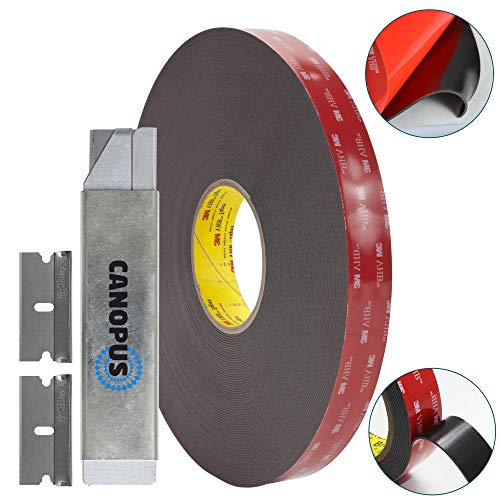 Adhesive Double Sided Tape, Heavy Duty Mounting Tape, Converted from 3M VHB 5952 roll, (0,75 in x 15 ft) with Box Cutter (1PC) and Razor Replacement (2PCs) by Canopus