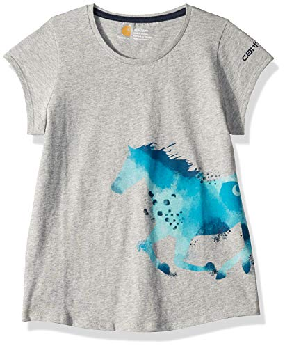 Carhartt Girls' Big Short Sleeve Cotton Graphic Tee T-Shirt, Horse wrap (Grey Heather), XS(7) ()