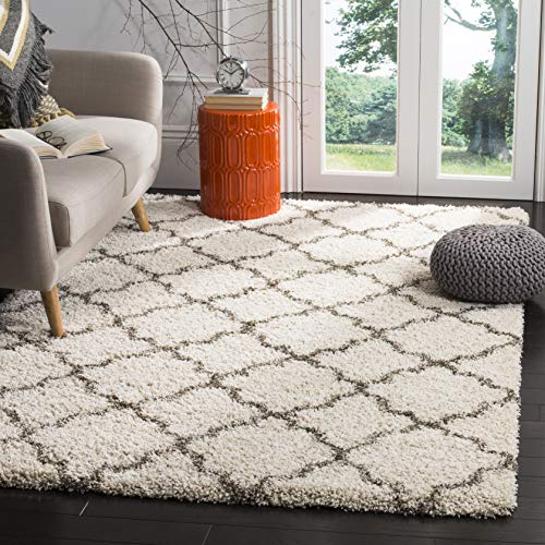 Safavieh Hudson Shag Collection SGH282A Ivory and Grey Moroccan Geometric Quatrefoil Area Rug (9' x 12')