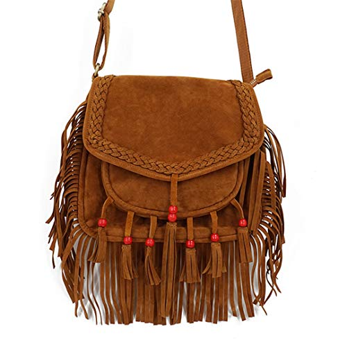 - Women Fringe Shoudler Bag Faux Suede Boho Chic Hippie Gypsy Music Fringe Brown Crossbody Bag Brown