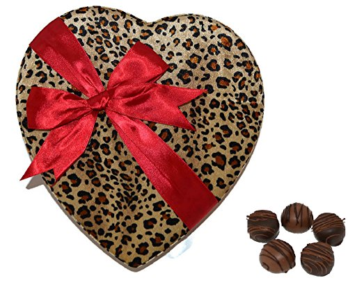 ULTIMATE VALENTINE CHOCOLATES in our POPULAR VELVET LEOPARD HEART-SHAPED READY-TO-GIVE GIFT BOX - FINEST HANDMADE TRUFFLE ASSORTMENT - 7 Ounces (14 Pieces) - Express Your LOVE this Valentine's Day