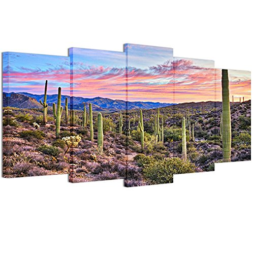 (Welmeco 5 Pieces Wall Art Decoration Pictures of Cactus Sunrise in Sonoran Desert, Arizona Landscape Canvas Prints Gallery Wrap Ready to Hang for Modern Home Office Wall)