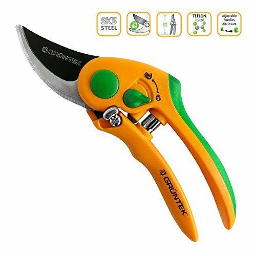 GRÜNTEK Secateurs FLAMINGO, TEFLON coated, pruning shears with ergonomic and carving anti-slip handles, bypass